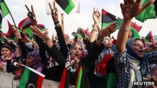 Women celebrate in Tripoli
