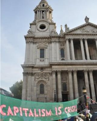 A banner outside St Paul's Cathedral