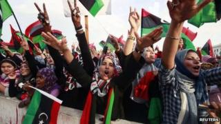 Women in Martyr's Square, Tripoli, celebrate the announcement of Libya's liberation - 23 October 2011