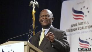 Herman Cain speaks at the Iowa Faith Freedom Coalition's Presidential Forum at the Iowa State Fairgrounds in Des Moines, Iowa, 22 October 2011