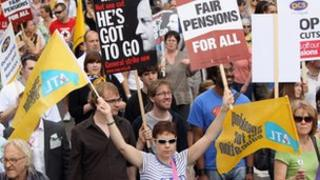 Public sector workers on strike over pensions march through central London on June 30, 2011 in London