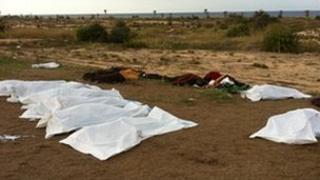 Bodies lie under sheets at the Mahari hotel, Sirte, Libya (Human Rights Watch image, 23 October 2011)