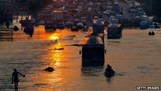 Flooding at Rangsit on the outskirts of Bangkok