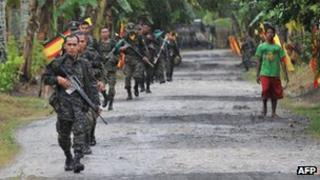MILF rebels on patrol in the southern Philippines in September