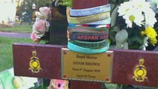 The grave of Royal Marine, Adam Brown at Heathlands Cemetery, Yateley
