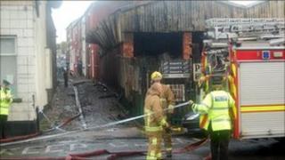 Fire crew at the scene in Prescot, Merseyside