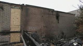 Fire-damaged building