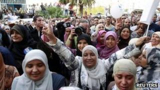 Demonstrators in Tunisia