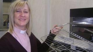 The Reverend Sue Griffiths in the new kitchen