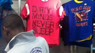 T-shirts for sale in a Markham and Sports Scene store