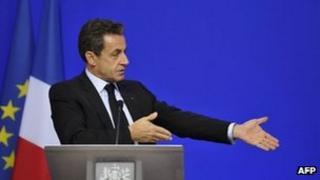 French President Nicolas Sarkozy at end of eurozone summit - 27 October 2011