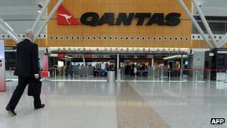 Empty Qantas check-in terminal