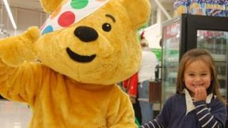 Pudsey Bear and a young friend in Cornwall