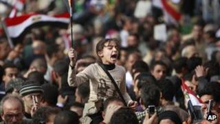 A young protester in Egypt joins calls for President Mubarak to step down - February 2011
