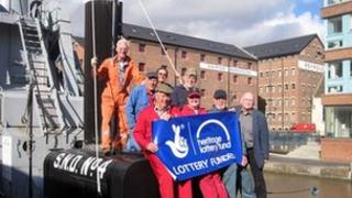 Friends of Gloucester Waterways Museum members on board Dredger SND number 4