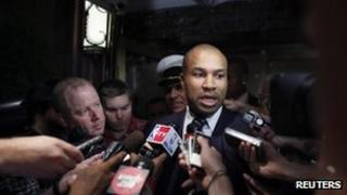 NBA Players Association President and Los Angeles Lakers' Derek Fisher speaks to reporters on 10 October 2011