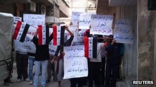 Syrians protest against President Bashar's government in Damascus. Photo: 28 October 2011