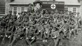 Soldiers at an WWI hospital in Leeds