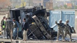 The Nato bus was blown over by the force of the explosion.