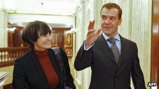 Swiss President Micheline Calmy-Rey and Russian President Dmitry Medvedev