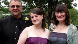Michelle Coulson with her parents Graham and Eleanor