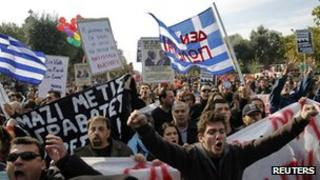 Protest against austerity in Thessaloniki, northern Greece, on 28 October 2011