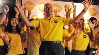 Scoot chief executive Campbell Wilson with staff members