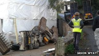 The damaged digger and van in St Mary (Photo: Jason Wyatt)