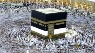 Pilgrims walking round the Kaaba.