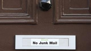 Sign on a letterbox requesting no junk mail