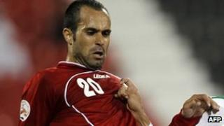 Mohammed Nosrati, of Persepolis, but playing here for Iran's national team on 11 January 2011