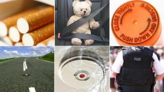(L-R) Cigarettes, seatbelt, medicine bottle, road, smoke alarm, policeman