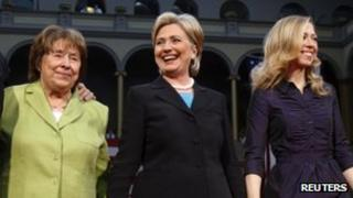 Hillary Clinton with her daughter Chelsea Clinton and her mother Dorothy Rodham at the National Building Museum in Washington 7 June 2008