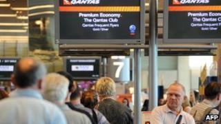 Stranded Qantas passengers