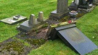 Damaged headstone in Great Harwood