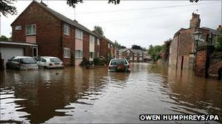 Flooding in an East Yorkshire street