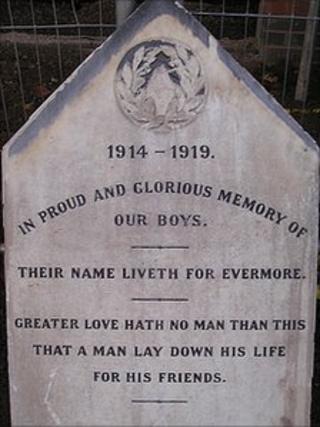 War memorial at Stockbrook in Derby