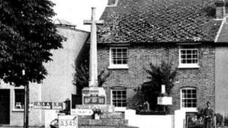Amesbury war memorial in the 1960s