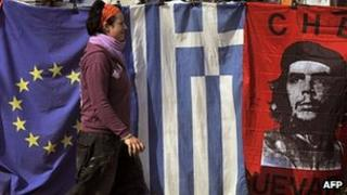 EU, Greek and revolutionary flags in Athens. 2 Nov 2011
