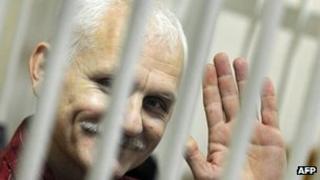Human rights activist Ales Belyatski in court in Minsk