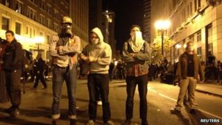 Masked protesters at Occupy Oakland, 3 November 2011
