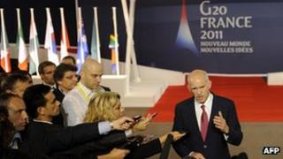 Greek prime minister talks to journalists at G20 meeting