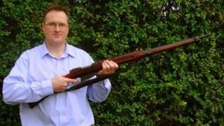 Ernest White with the Mannlicher rifle