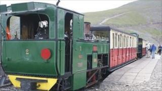 A Snowdon Mountain Railway engine and carriages