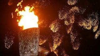 Olympic flame in its cauldron at the Beijing Olympics