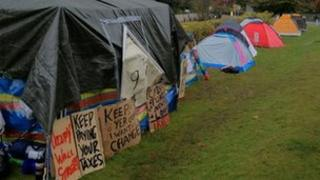 Tents outside Bournemouth Town Hall