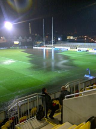 Flooding at Rodney Parade