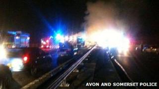 The scene of the crash on the M5