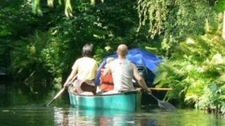 Young people in a canoe