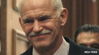 George Papandreou at emergency cabinet meeting, 6 November 2011